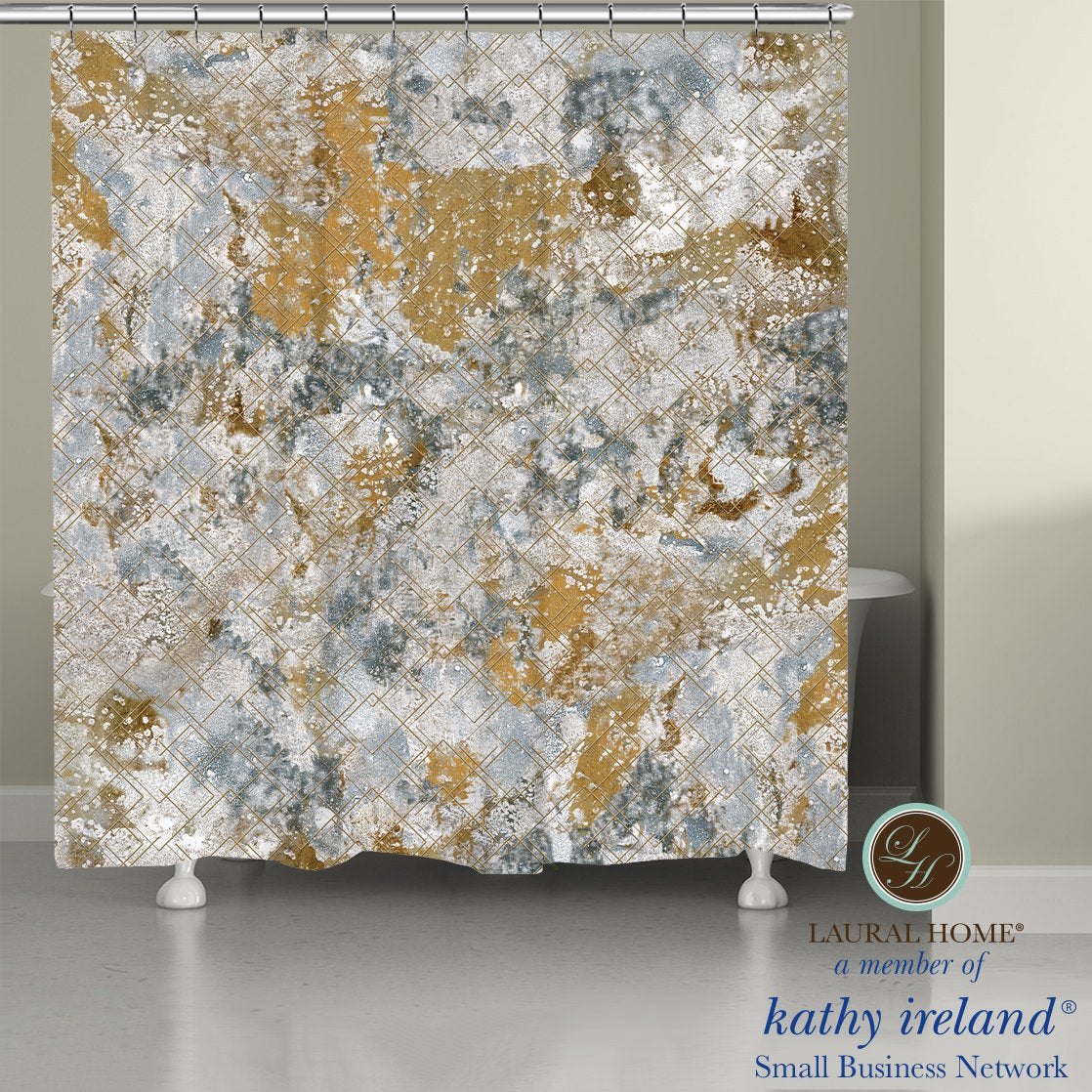 Laural Home kathy ireland®  Small Business Network Member Stone Wall Shower Curtain