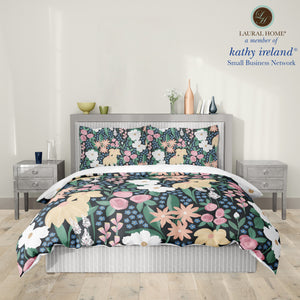 Laural Home kathy ireland® Small Business Network Member Delicate Floral Midnight Garden Comforter