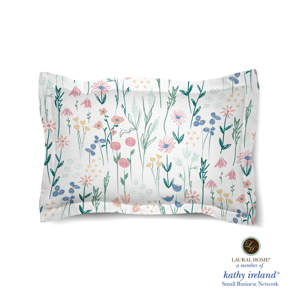 Laural Home kathy ireland® Small Business Network Member Delicate Floral Boho Comforter Sham