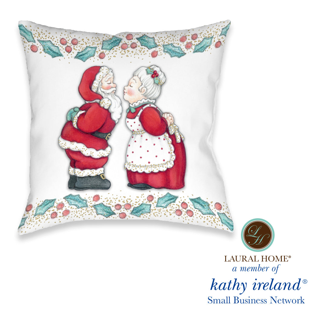 Laural Home kathy ireland® Small Business Network Member Once Upon A Christmas Mr and Mrs Clause Indoor Decorative Pillow