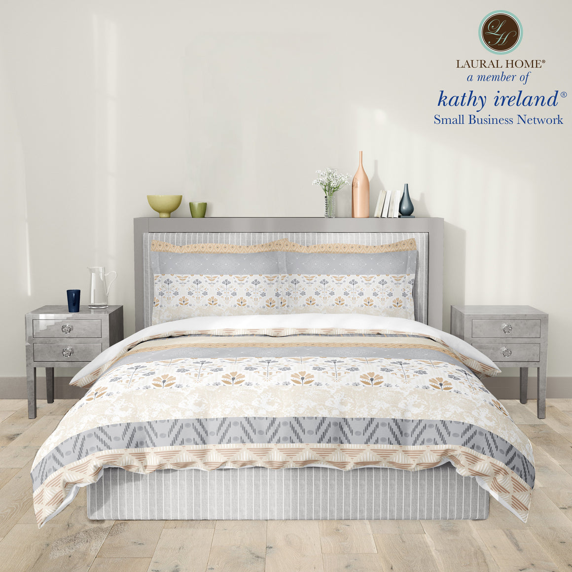Laural Home kathy ireland® Small Business Network Member Peaceful Elegance Stripe Comforter