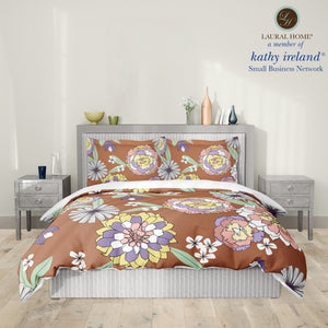 Laural Home kathy ireland® Small Business Network Member Retro Floral Bursts Comforter
