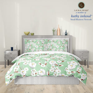 Laural Home kathy ireland® Small Business Network Member Retro Floral Mint Comforter