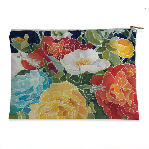 Midnight Floral Flat Pouch