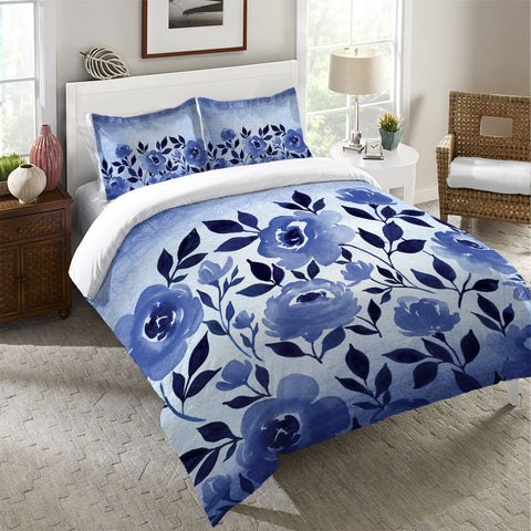 Indigo Blue Watercolor Ombre Flowers Duvet Cover