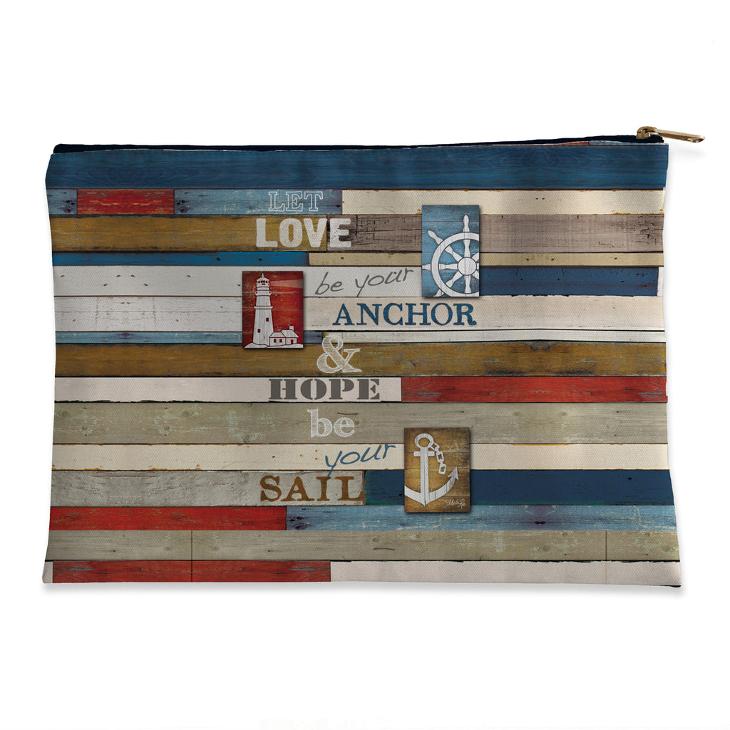 Nautical Anchor Inspiration Flat Accessory Pouch