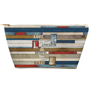 Nautical Anchor Inspiration Tapered Accessory Pouch