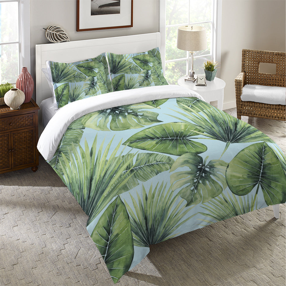 Tropical palm tree leaves duvet cover
