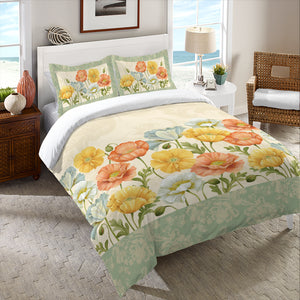 Pastel Poppies Duvet Cover