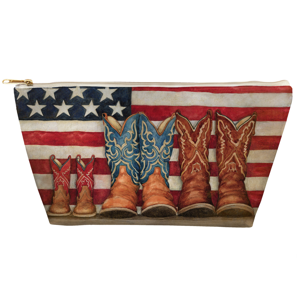 Patriotic Cowboy Boots Tapered Accessory Pouch