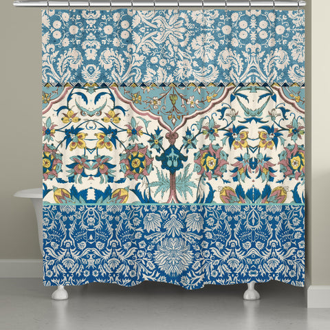 Royal Blue Bohemian Tapestry Shower Curtain