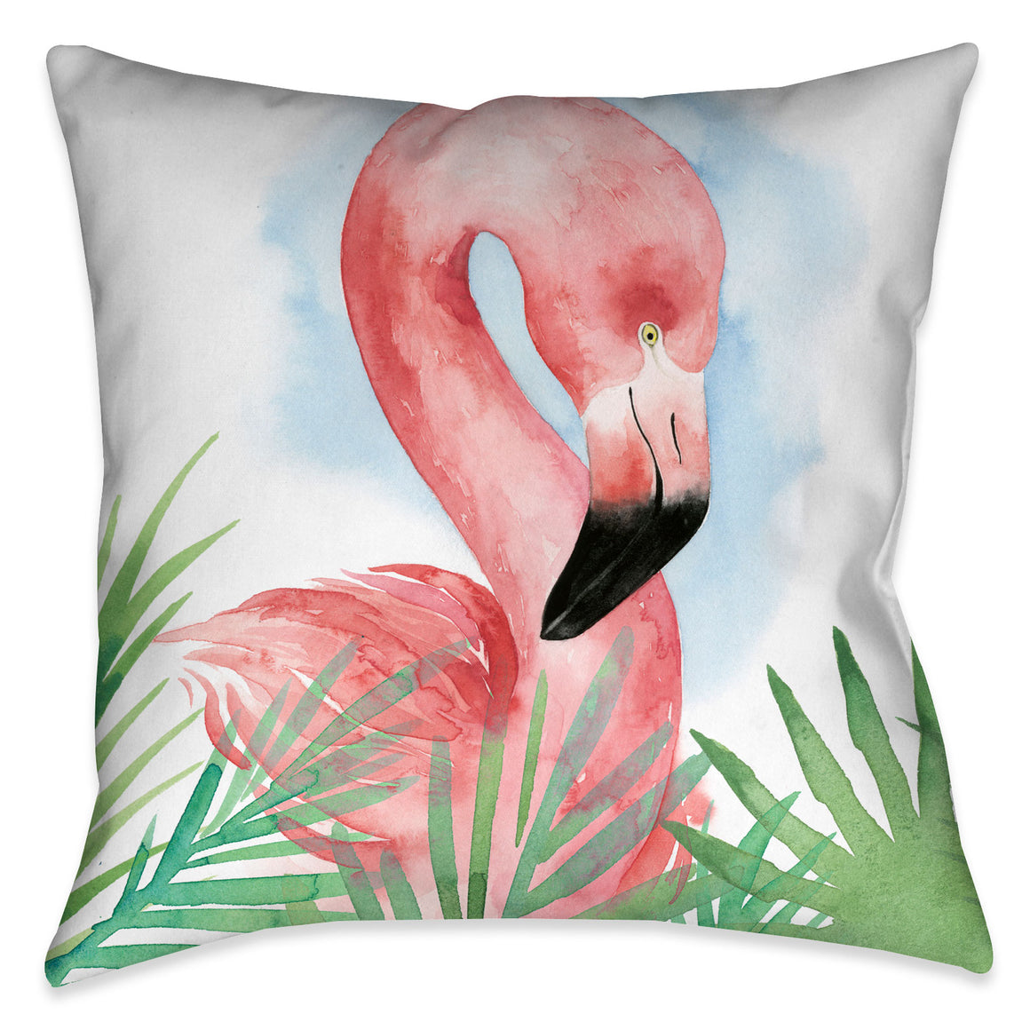 This whimsical Watercolor Flamingo Outdoor Decorative Pillow carries a fun summertime essence. This pillow design would make a great addition for any outdoor space!