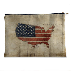 Wooden Flag Flat Accessory Pouch
