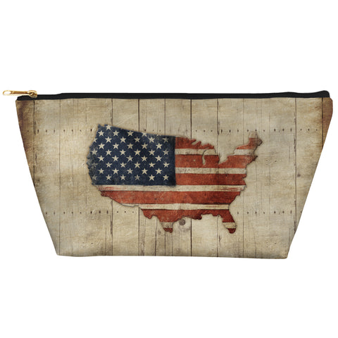 Wooden Flag Zipper Pouch