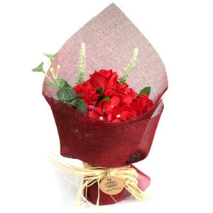 Red Soap Flower Standing Bouquet