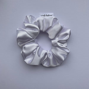 White Deluxe Satin Scrunchie