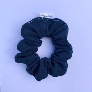 Navy Cheesecloth Scrunchie
