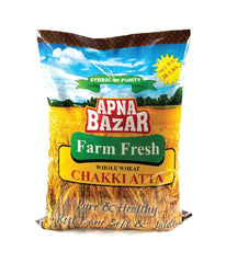 Apna Bazar Farm Fresh Whole Wheat Chakki Atta - 20 lbs - Daily Fresh Grocery