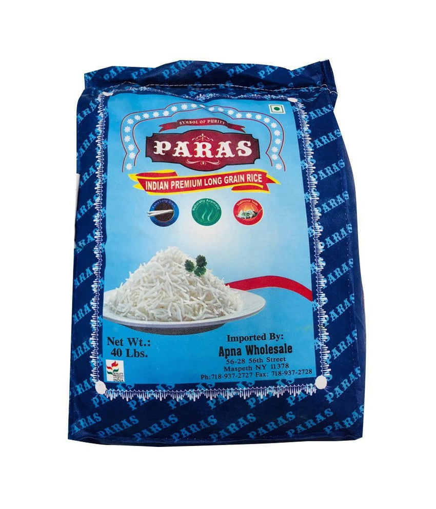 PARAS - Indian Premium Long Grain Rice - 40Lbs - Daily Fresh Grocery