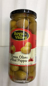 Royal Valley Green Olives Red Pepper - 500gm - Daily Fresh Grocery
