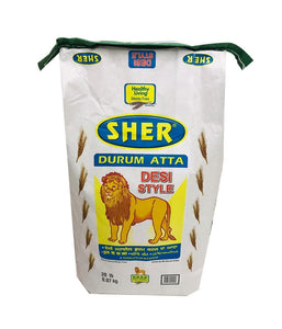 SHER - Durum Atta - Desi Style - 20Lbs - Daily Fresh Grocery