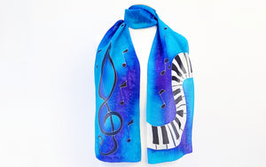 Scarf piano treble clef music blue purple turquoise made in Canada