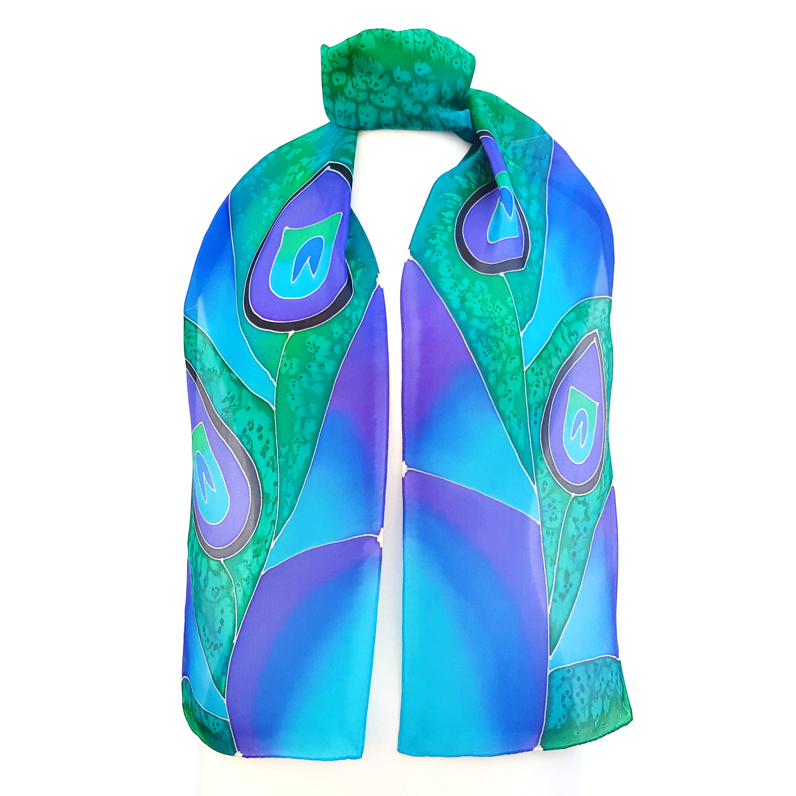 PEACOCK FEATHER Pink Fuchsia Purple PAINTED SILK Design Silk Scarf