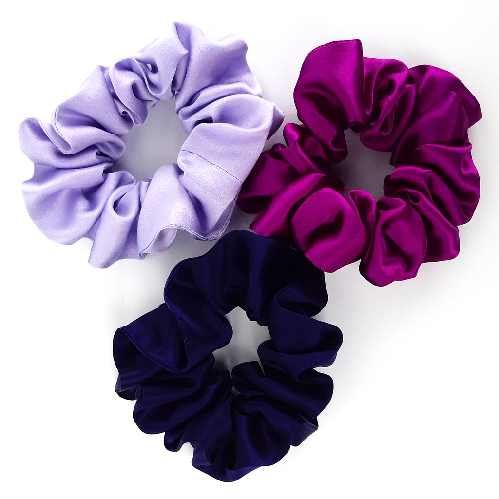 large silk satin scrunchies pink purple mauve hair accessory
