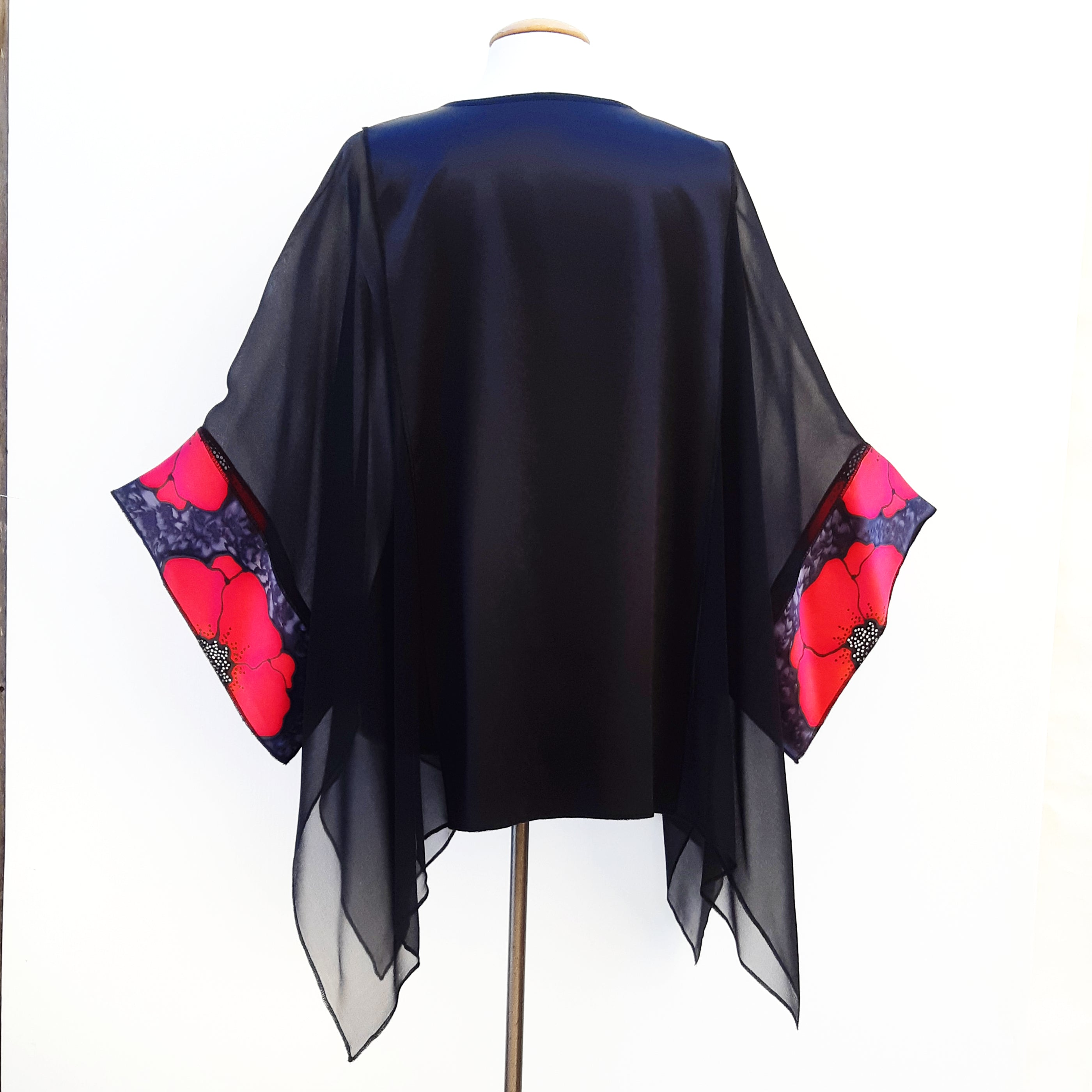painted silk shirt plus size black and red