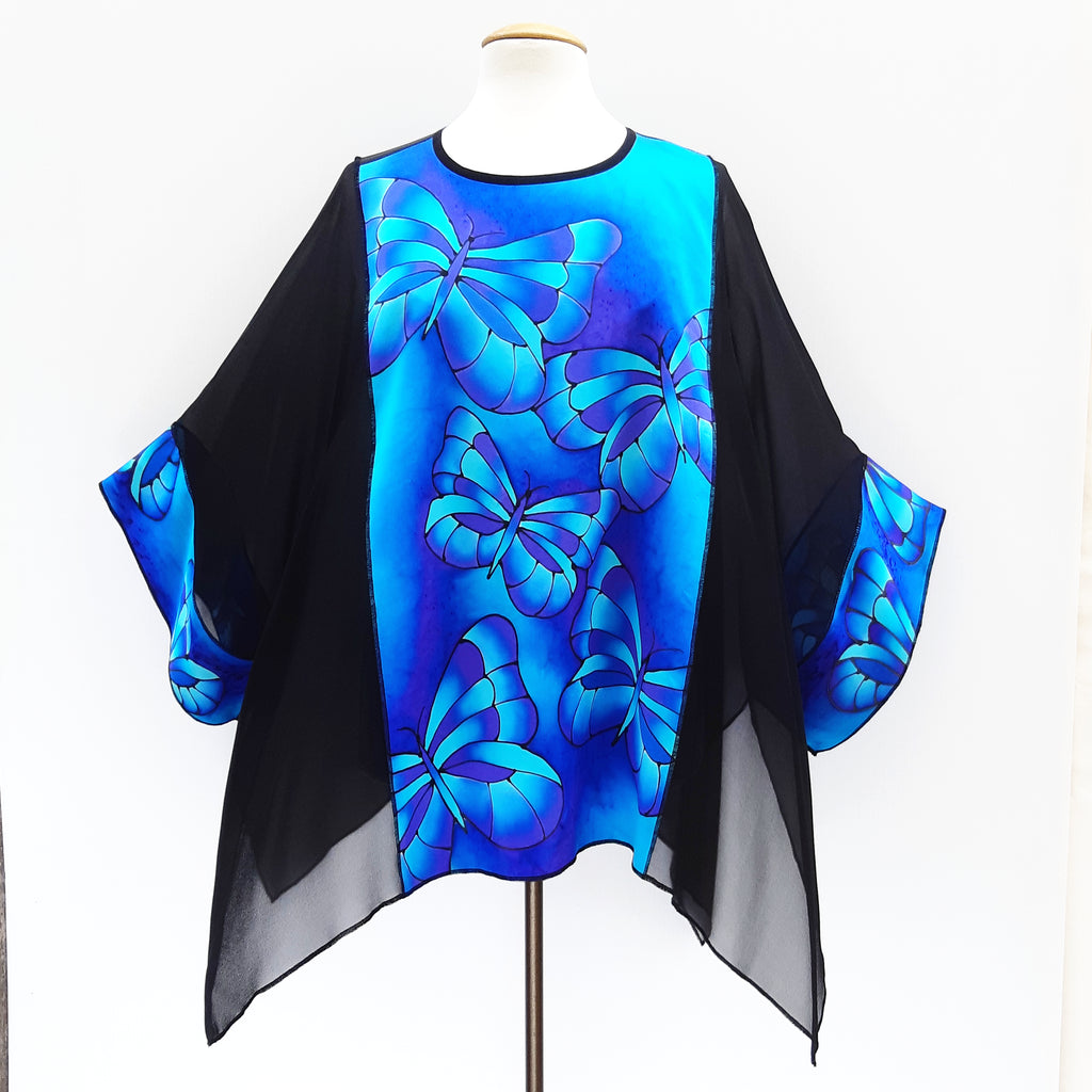 painted silk top blue