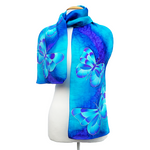 Load image into Gallery viewer, silk clothing hand painted silk blue butterflies long scarf hand made by Lynne Kiel