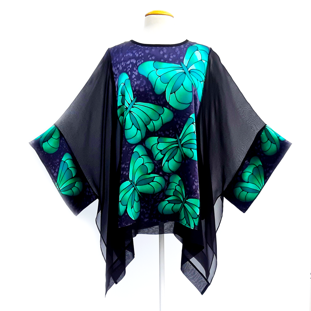 green butterfly hand painted silk caftan top for cruise wear and wedding wear