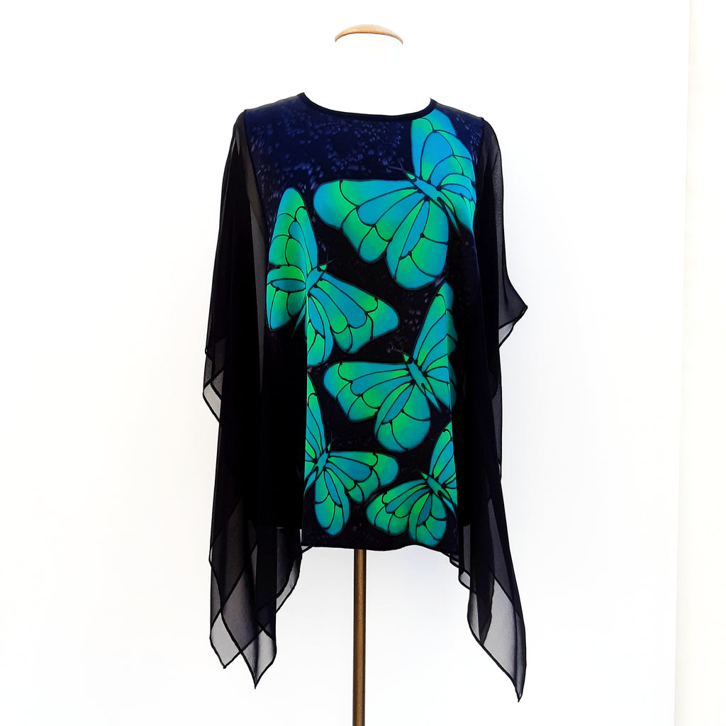 painted silk top for women