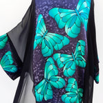 Load image into Gallery viewer, painted silk top green butterfly made in Canada
