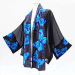 Load image into Gallery viewer, painted silk sheer black kimono