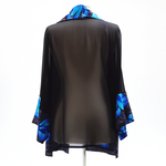 Load image into Gallery viewer, painted silk top for women blue