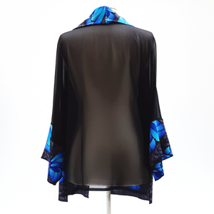 painted silk top for women blue