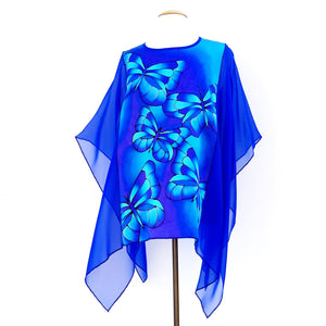 painted silk fashion blue silk butterflies
