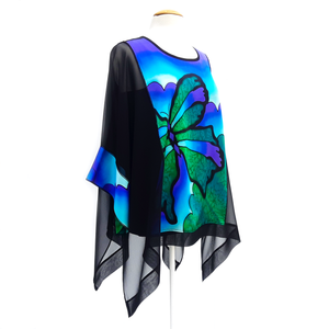 caftan top for women painted silk design cruise wear wedding outfit made by Lynne Kiel