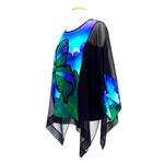 Load image into Gallery viewer, painted silk green butterfly long top for women slow fashion handmade by Lynne Kiel