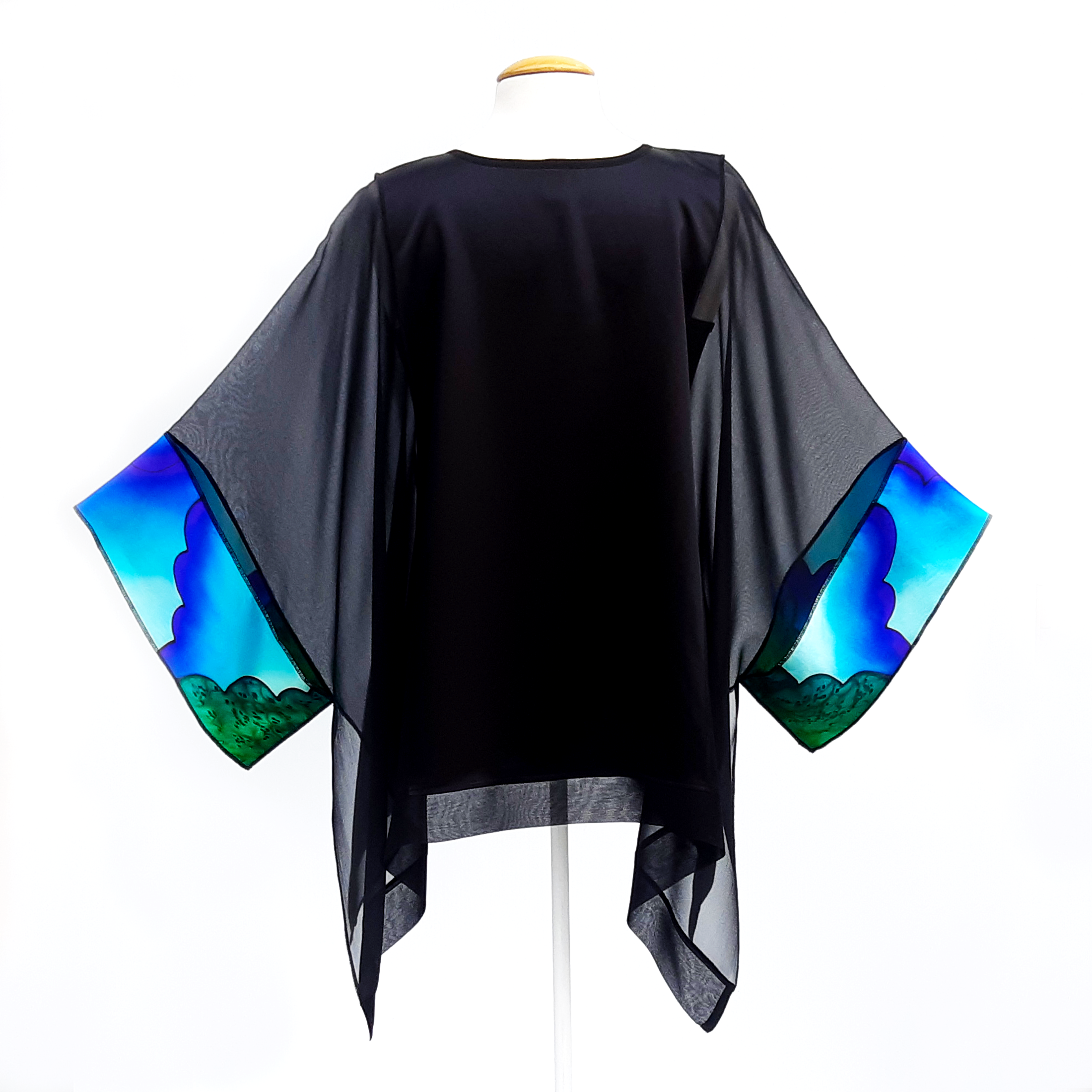 pure silk black caftan top made in Canada hand painted by Lynne Kiel