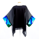 Load image into Gallery viewer, pure silk black caftan top made in Canada hand painted by Lynne Kiel