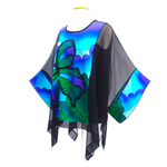 Load image into Gallery viewer, one size ladies long black caftan top painted silk slow fashion handmade by Lynne Kiel