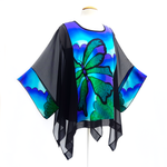 Load image into Gallery viewer, plus size long top for women painted silk green butterfly art made in Canada by Lynne Kiel
