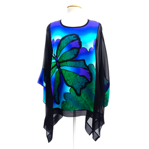 Butterfly design silk top for women hand painted by Lynne Kiel Made in Canada