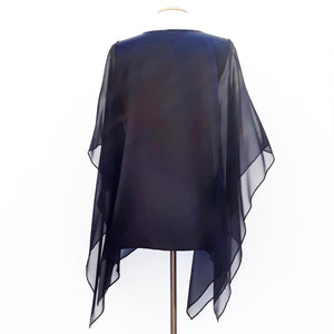 painted silk poncho top black