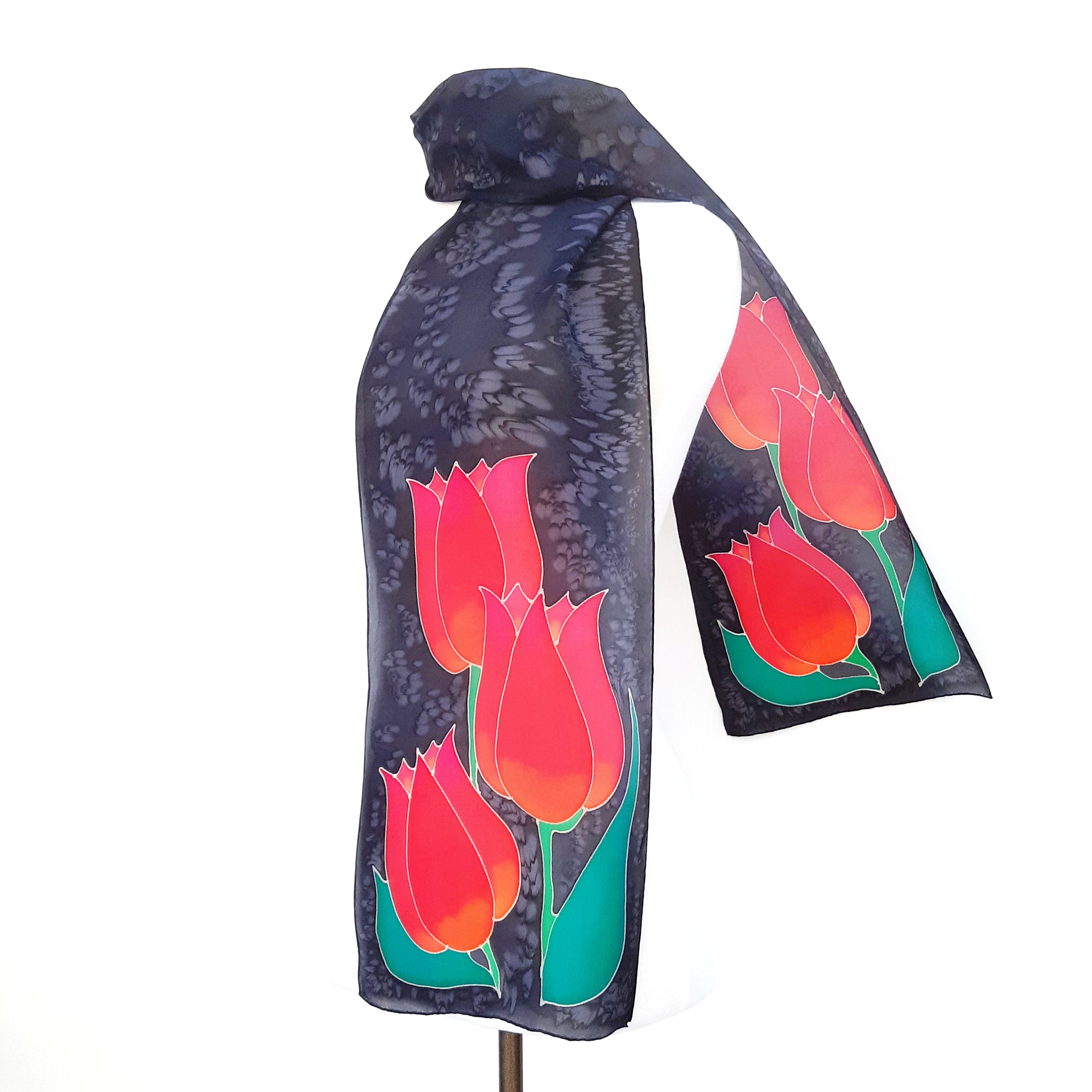 painted silk red tulips on black long scarf