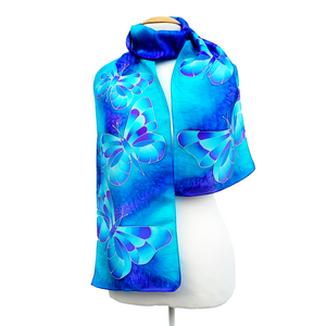 hand painted silk scarf blue butterfly design art handmade by Lynne Kiel
