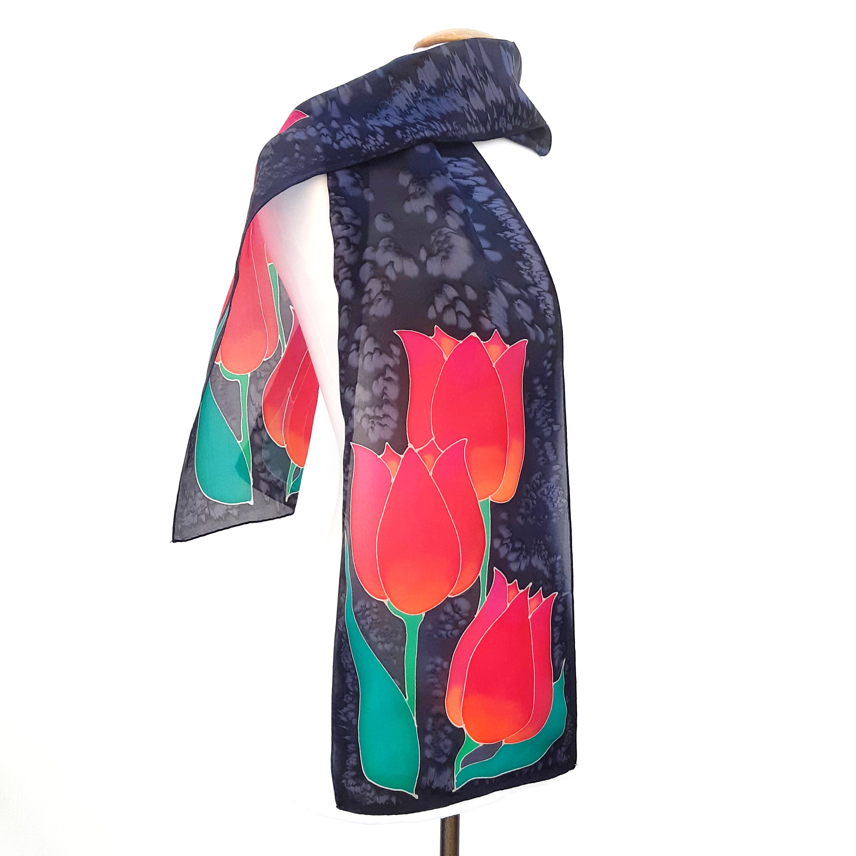 painted silk long scarf red tulips black scarf