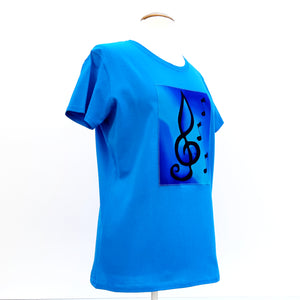 painted silk blue shirt for ladies